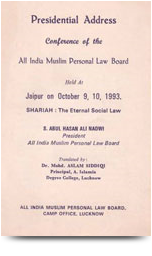 presidential address conference of the all india muslim personel law-9-10-1993-jaipur